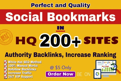 Build manually top 200 quality bookmark submission SEO backlinks