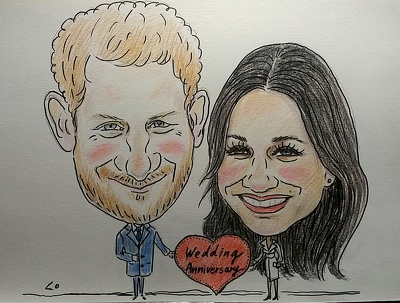 create a Personalised colour caricature of two people happy gift