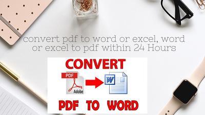 Convert pdf to word or excel, word or excel to pdf within 24 hr