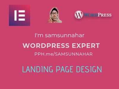 Create wordpress landing page,SEO friendly using elementor pro