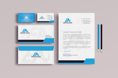 Design minimal business card, letterhead and stationary
