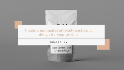 Create a minimal print-ready packaging design for your product