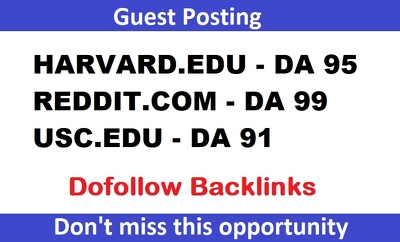 Premium 3 DA90+ Guest Posts on Harvard.edu, Reddit.com, USC.edu