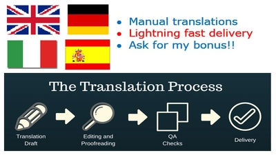 Translate into Italian, German, English, and Spanish