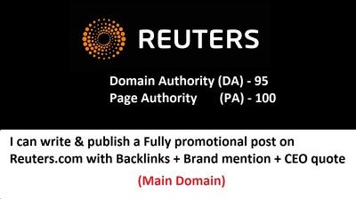 Guest Post on REUTERS ,Reuters.com DA 95 PA 100