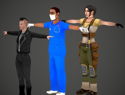 Make 3d character modeling and texturing