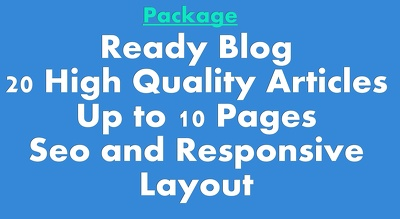 Provide A Ready  Blog With 20 High Quality Seo Articles