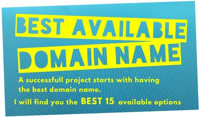 Identify the best 15 available domain names for your new website