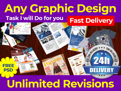 i Can Do any Graphic Design Works 24 hours Express delivery