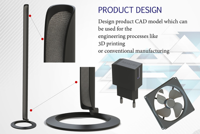 Design any product for visualize in 3D or for manufacturing