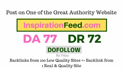 Publish a guest post on InspirationFeed.com DA77, DR72