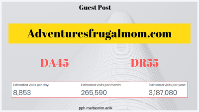 Write and publish a guest post on Adventuresfrugalmom.com DA45
