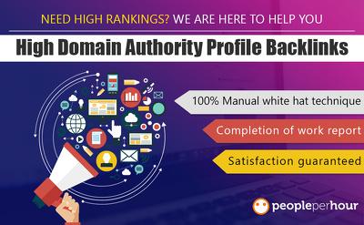 Create 50 high domain authority profile backlinks