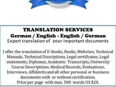 Translate German-English, English-German per page (500 words)