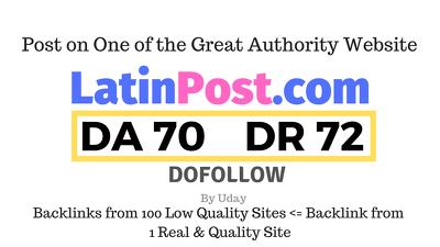 Publish a guest post on Latinpost.com DA70, DR72