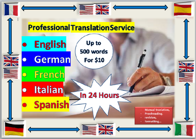 Translate into English, German, Italian, Spanish and French