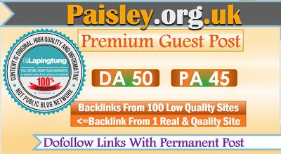 write & Publish Sports Guest Post on Paisley.org.uk - DA 50