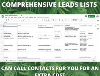 Generate a Comprehensive Leads List within 3 days