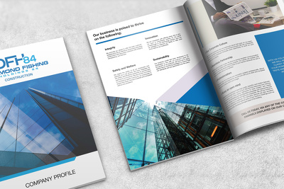 Design a modern beautiful 10 pages  company profile or brochure