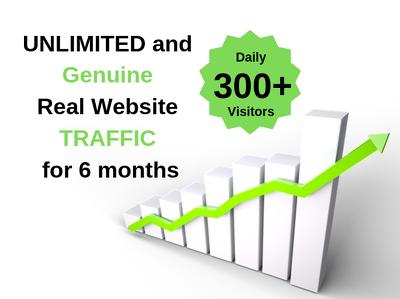 Deliver unlimited genuine real website traffic for 6 months