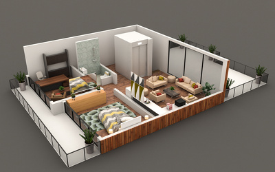 Convert your 2D plan to a 3D floor plan quick and quality