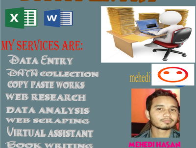Do any type of data entry, web research and data analysis