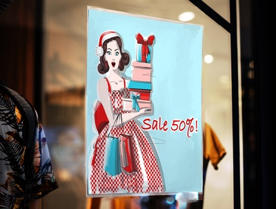 Draw a shopping ad or promotional handouts in fashion style