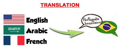Translate Arabic, English, French, into Portuguese (350 words)