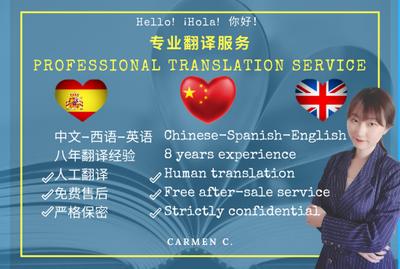 Translate professionally Chinese/Spanish/English (10€/200 words)