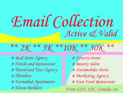 Collect 100 targeted lead from different countries USA, UK etc