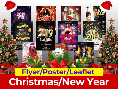 I will do elegant new year and Christmas flyer design