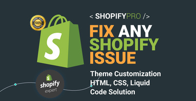 Customize shopify website and fix shopify theme problems