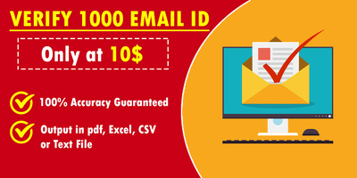 Clean / Scrap Verified Email Ids from 1000 bulk email list.
