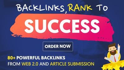 MANUALLY buid 80 POWERFUL SEO BackIinks on rich DA sites + EDU