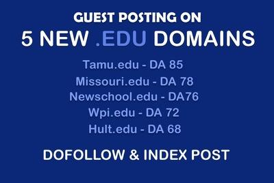 EDU Guest Posting on 5 NEW EDU Domains - DA 65+ Dofollow