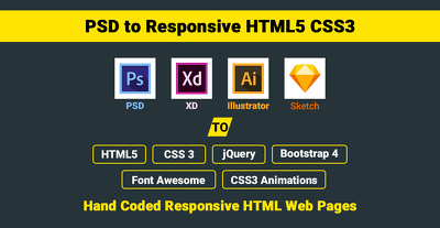 PSD / XD / Sketch / Illustrator to Responsive HTML5 Bootstrap-4