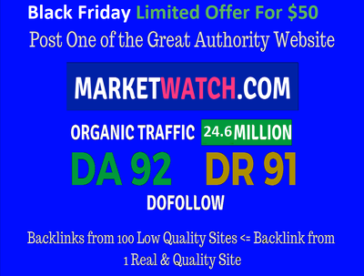 Guest Post On Marketwatch Da92 with DoFollow (Limited offer)