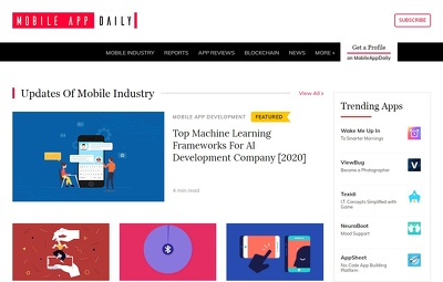 Guest post on Mobileappdaily.com tech website - DA 45