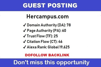 Publish Guest Post On Hercampus, Hercampus.com DA 78
