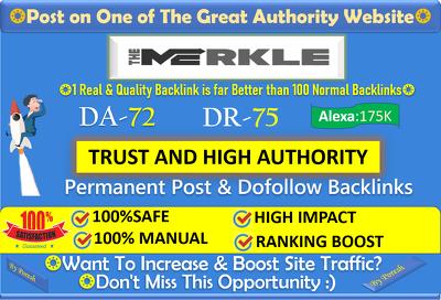 Place Guest Post on HQ Crypto Site - TheMerkle.com (DA72, DR73)