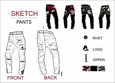 Create a CAD sketch of 1x clothing Front & Back