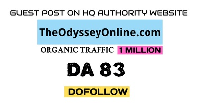 Guest post on TheOdysseyOnline.com DA 83 Dofollow Link