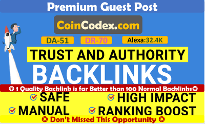 Cryptocurrency Guest Post on Coincodex.com - DA 51, DR 70