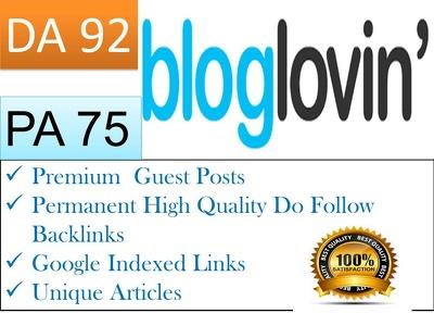 Write and Publish Publish Premium Guest Post On Bloglovin DA 91