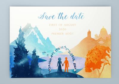 Design your unique wedding invitation in watercolour-style