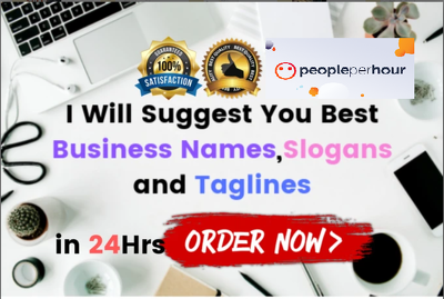 Create 40 attractive business names or slogans or taglines