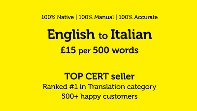 professionally translate 500 words from English to Italian