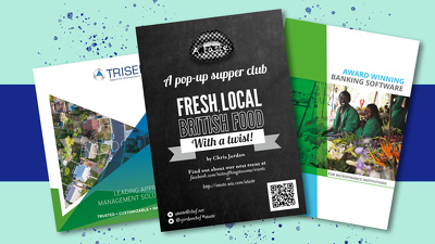 Design an eyecatching poster, flyer or leaflet