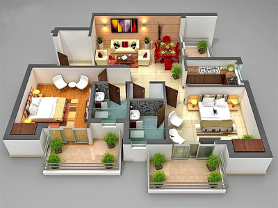 Convert 2D floor plan in to 3D plan