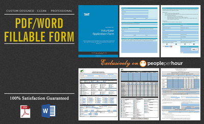 I can Design interactive PDF/Word Fillable Form